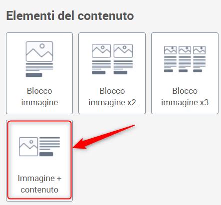 """Blocco """"immagine + contenuto"""""""