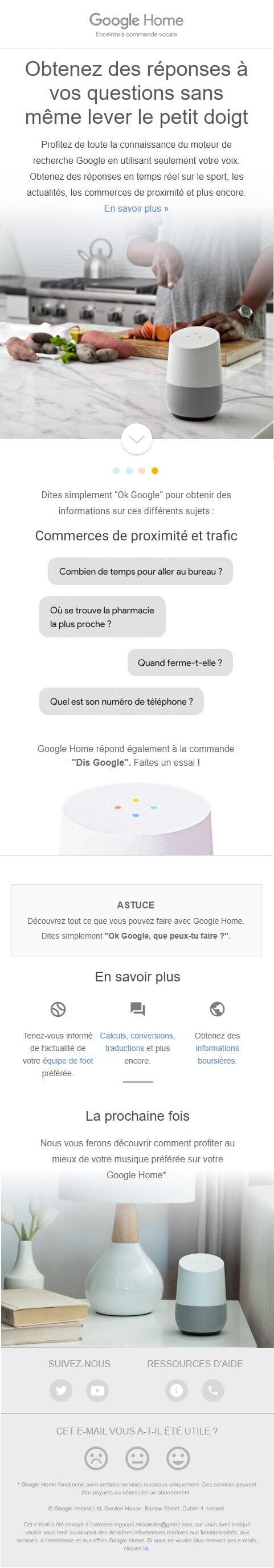 Esempio di email marketing - Google Home