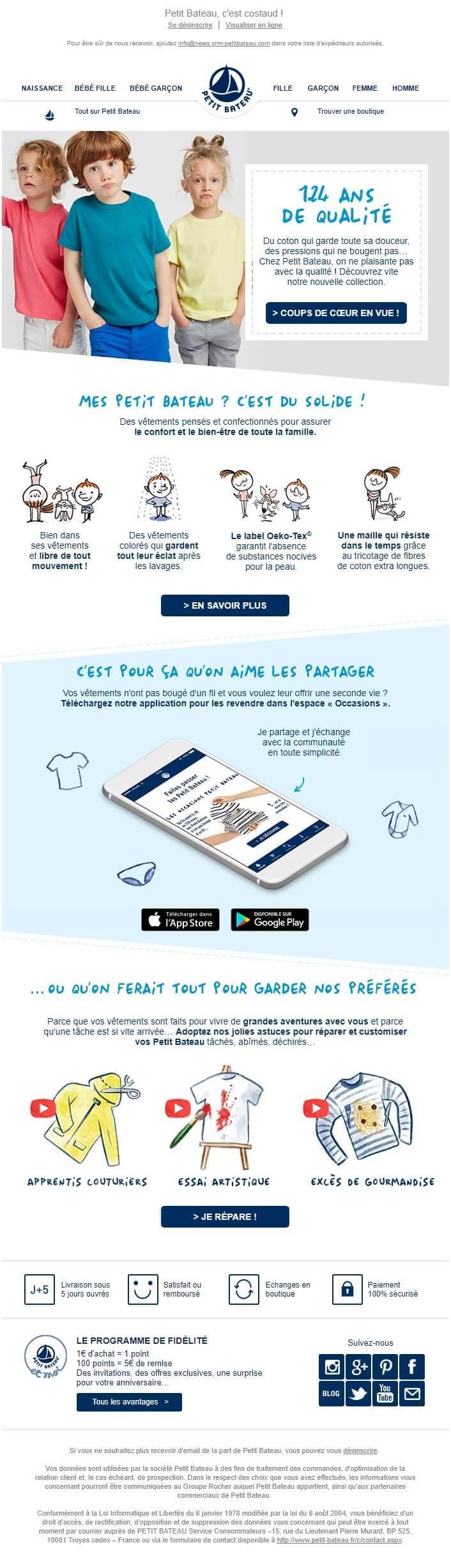 Esempio di email marketing - Petit Bateau