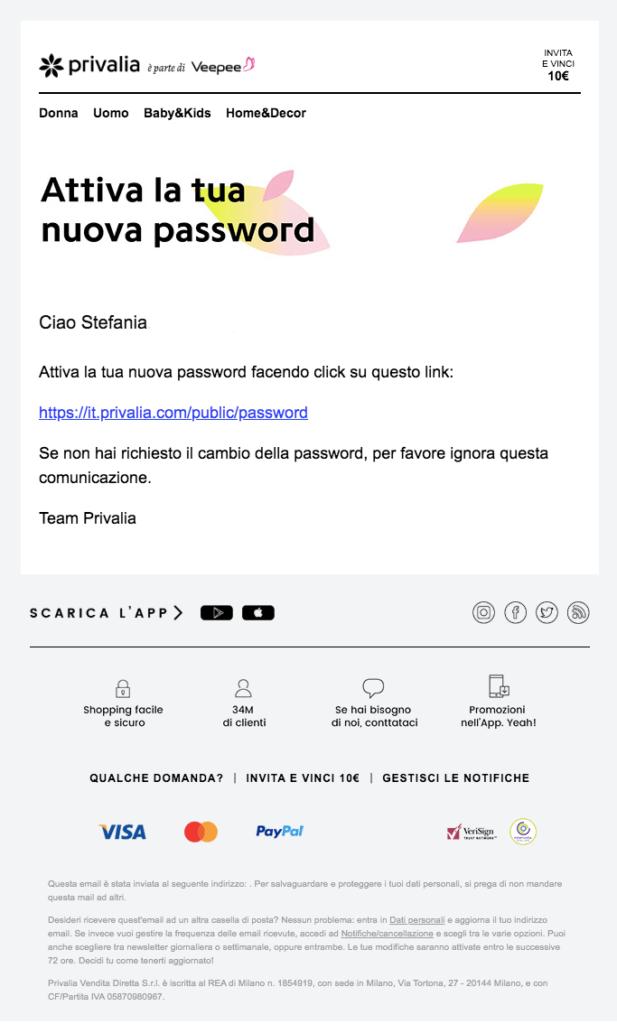 Esempio email transazionale per il ripristino della password inviata da Privalia