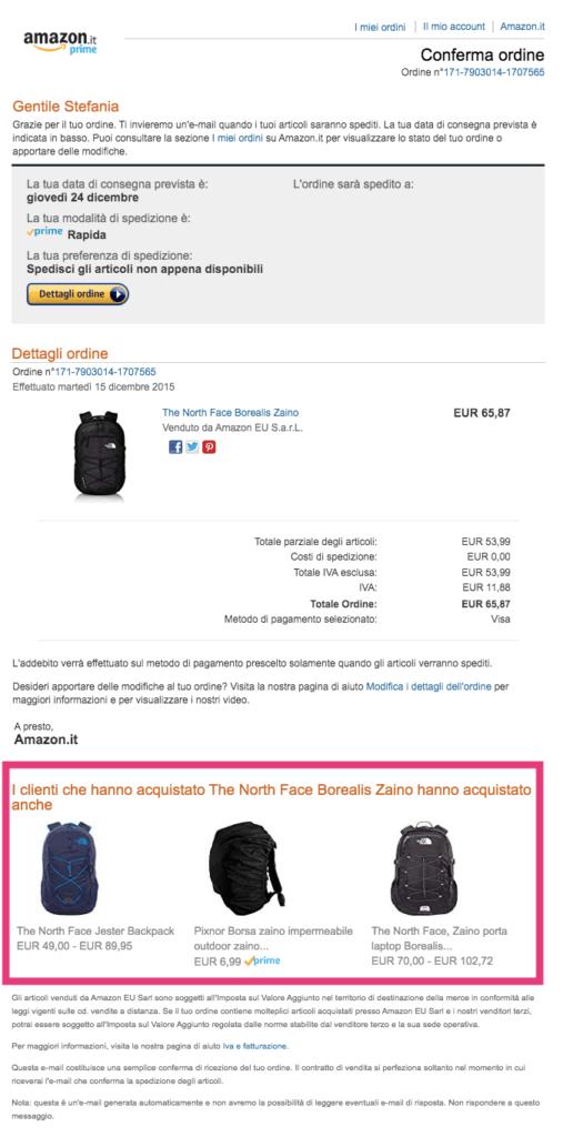 Esempio email transazionale upselling Amazon