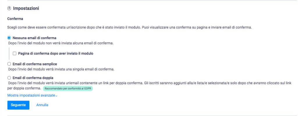 Scegli se inviare una mail di conferma iscrizione