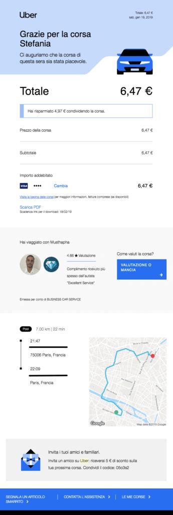 Esempio email transazionale inviata da Uber con informazioni aggiuntive