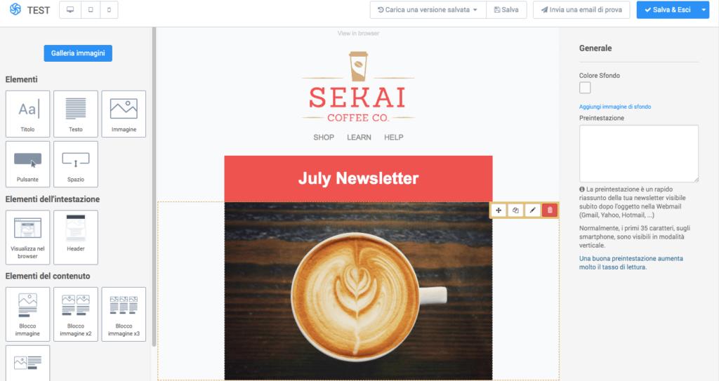 Editor Drag & Drop per la creazione di newsletter