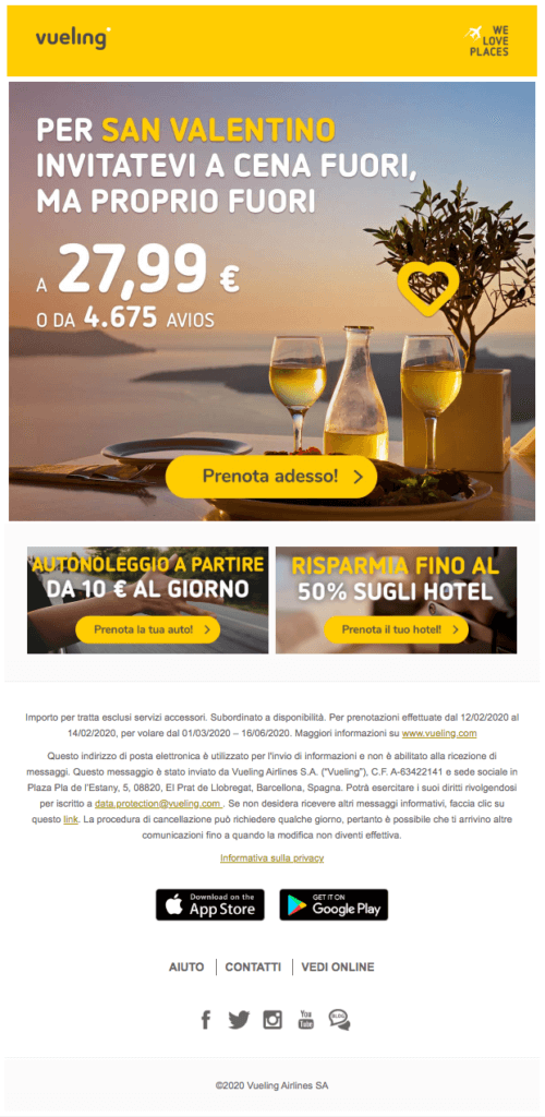Newsletter San Valentino di Vueling