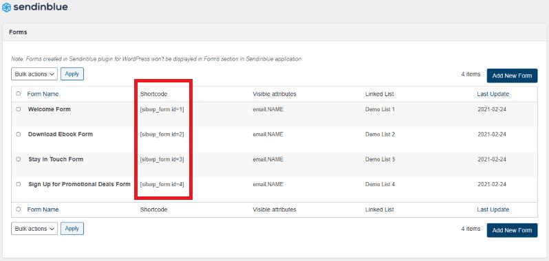 shortcode_modulo_iscrizione_Sendinblue_WordPress