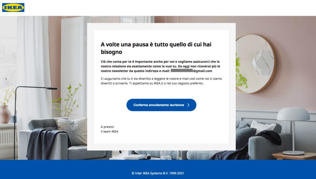testo_cancellazione_newsletter_ikea_esempio