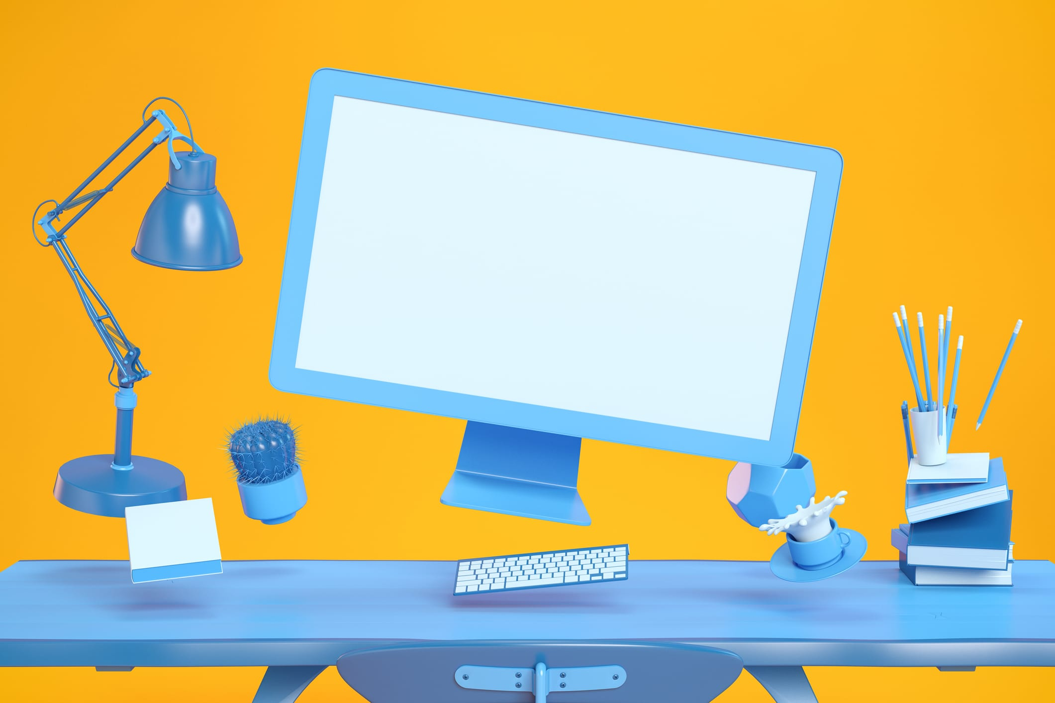 Blue-Office-Tools-and-Computer-Screen