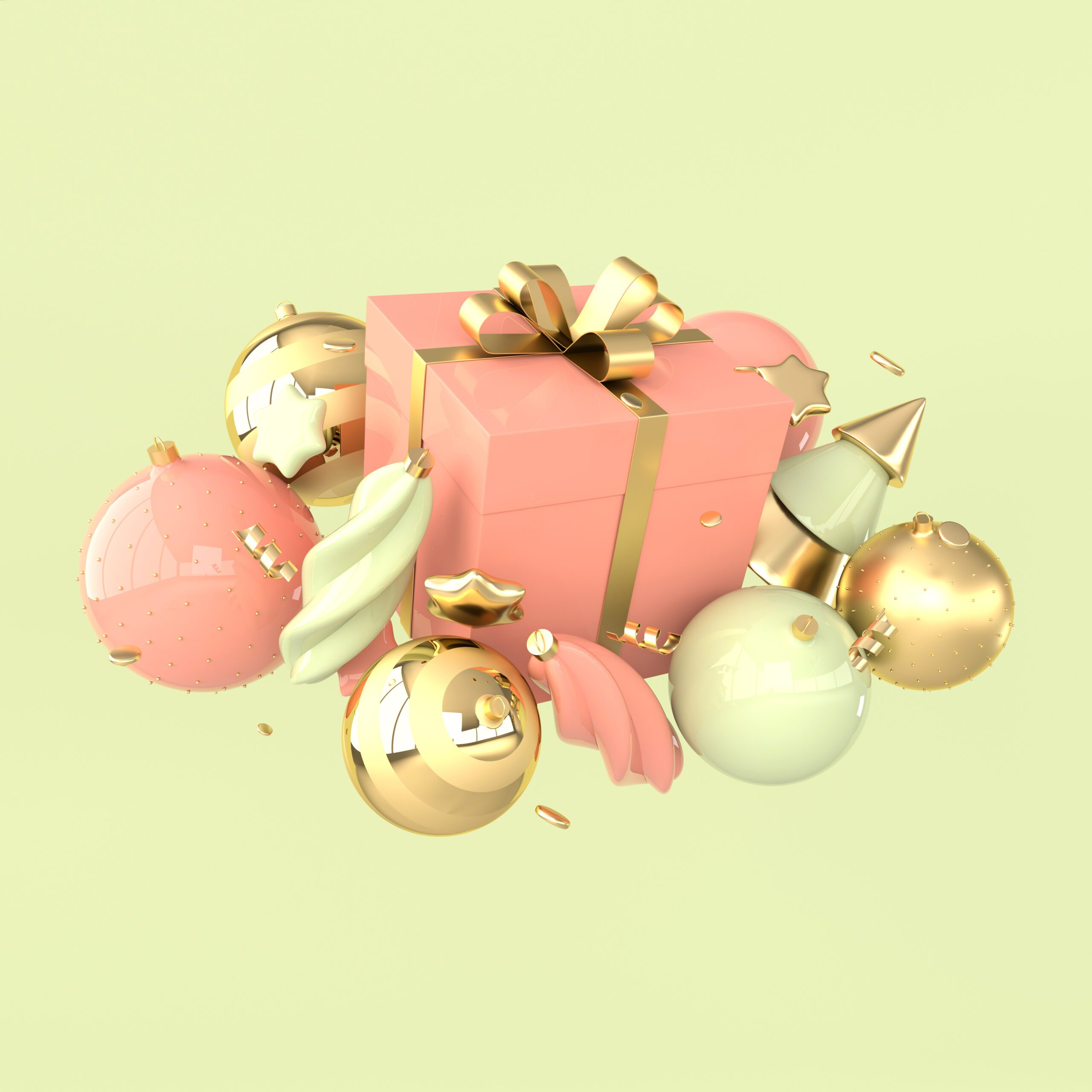 Merry-Christmas-and-Happy-New-Year-3d-render-illustration-card-with-pastel-colored-xmas-balls-stars-christmas-tree-gift-box-Winter-decoration-xmas-minimal-design